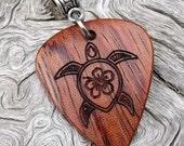 Wood Guitar Pick-Pendant - Premium Quality - Handmade with African Bubinga Wood - Laser Engraved Both Sides - Artisan Wooden Jewelry