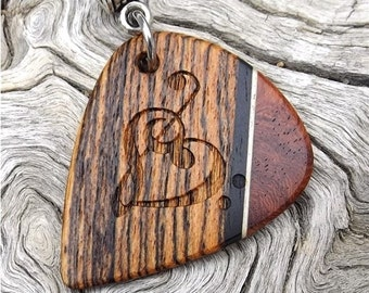 Handmade Premium Multi-Wood Guitar Pick-Pendant  Laser Engraved - Actual Pendant Shown - No Stock Photos