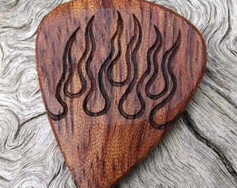 Handmade Premium Wood Guitar Pick - African Bubinga - Laser Engraved - Hot Rod Flames - Actual Pick Shown - No Stock Photos