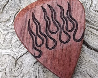 Purpleheart Handmade Premium Wood Guitar Pick -  Laser Engraved - Hot Rod Flames - Actual Pick Shown - No Stock Photos