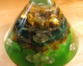 Tiger Eye and Malachite Small Orgone Accelerator