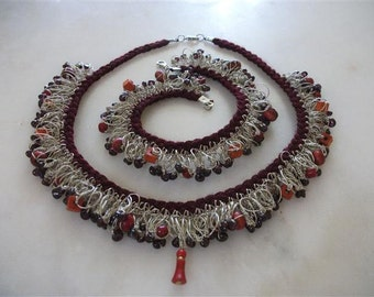 Beige, Red Crochet Shanky Necklace And Anklet Bracelet