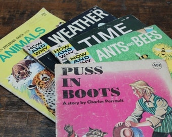 Vintage Children's Book Bundle of vintage magazines for kids How and Why Wonder Books science Weather Animals Ants & Bees Time Puss in Boots
