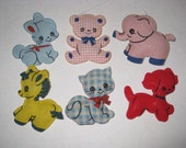 Vintage Baby Nursery Mobile Animal Set 6 Toys DIY Upcycle Fabric Supplies Childrens Decor Toy Lot