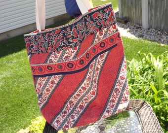 Extra Large Beach Bag, Family Size Tote Bag, Red, Blue & (almost) White
