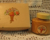 """Vintage 1930s  """"Cara Nome"""" Face Powder Box and Bottle of Liquid Foundation"""