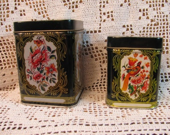 Pair of Metal Tins w/ Stylized Birds and Flowers - Gold Tone Accents on Black Background