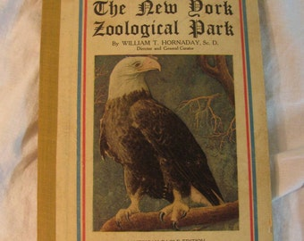 "1919 Edition "" Popular Official Guide - ""The New York Zoological Park"" (Bronx Zoo) by Hornaday w/ Color Map"