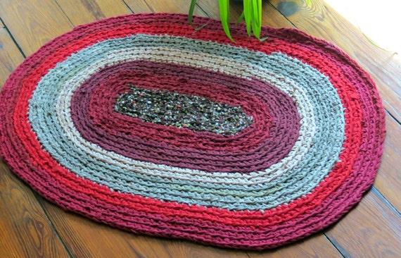 Rag Rug Oval Braided Crochet Handmade Rug