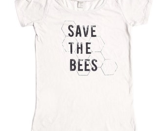 Womens Scoop Neck - Save the Bees Shirt - Organic shirt - S M L XL- Clothing -Tshirt - bug