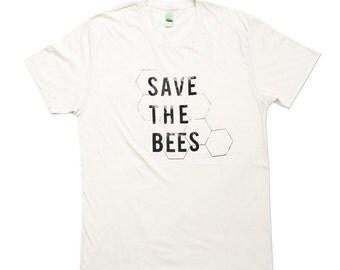 Organic Save The Bees Tshirt, Unisex Bee Tee, Organic shirt, Natural White, Bee Shirt- Small, Medium, Large, XL