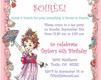 Fancy Nancy Party Invitation / DIY PRINTABLE / Birthday Tea Party Dress Up Soirèe / Tiara / Pink Purple Lavender Aqua