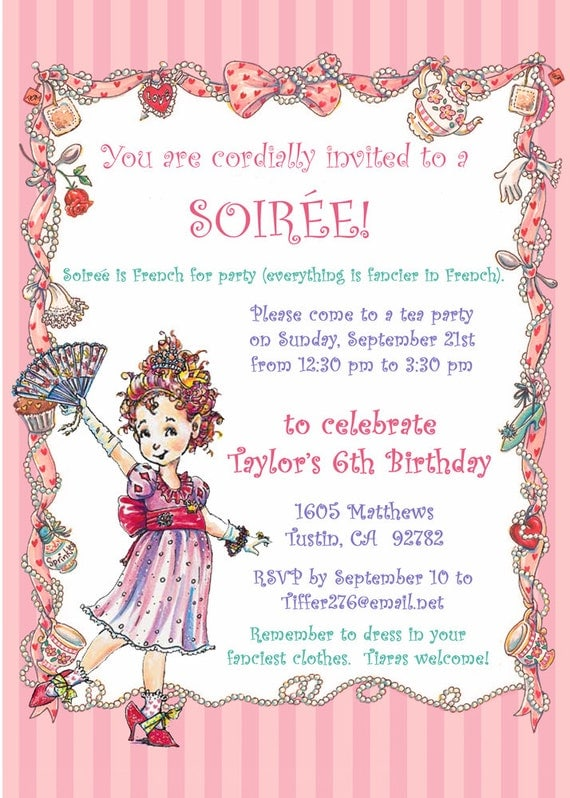Fancy nancy party invitation diy printable birthday tea like this item stopboris Image collections