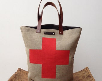 Sale 30% off Sturdy linen Tote with leather handles hand printed Swiss Suisse Cross by Papa Totoro