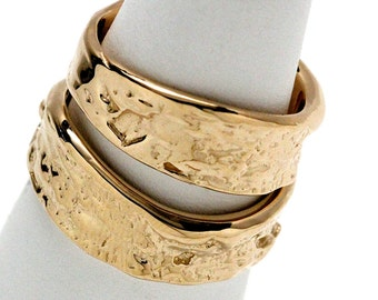 14k Yellow Gold Angle Cut Tree Bark Wedding set made in NYC