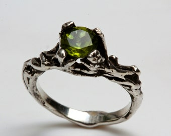 Green Peridot tree branch ring Sterling Slver or 14k Gold  NYC Blue Bayer Design