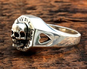 silver skull ring tomorrow thee memento mori memorial jewelry made in NYC