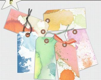 Shipping Tags No 1 Watercolor paper Digital tags Digital download Scrapbook supplies