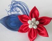 Patriotic Peacock Fascinator or Flower Brooch, Red / White / Blue Bridal Hair Piece, 4th of July Bride, Wedding Head Piece Birdcage Veil