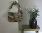 Printed Burlap Purse, Market Bag, Bags and Purses, French Print Purse, Burlap Print Purse, Handbag, BoHo Bag, Cross Body Purse, Shoulder Bag