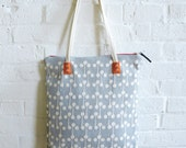 "Gray, Circle Print, Mod Tote, 10"" drop, skinny canvas strap, rivets, Leather Pull, Industrial Zip, with orange canvas"