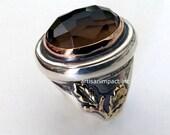 Sterling silver ring, gold leaf ring, gold silver ring, two tones ring, statement ring, smoky quartz ring, gemstone - Basic instinct R2179