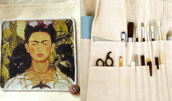Frida Kahlo, artist bag, organized tote, multi pocket, crafter bag, brush storage bag, hobby bag, last one left