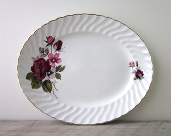 White China Oval Ironstone Platter Ridgway Rougemont Red and Pink Floral Design