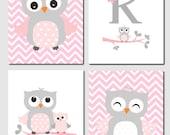 Owl Nursery Art Pink Gray Owls Initial Monogram Baby Girl Kids Art Chevron Girls Room Owl Nursery Decor Set of 4 Prints or Canvas