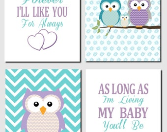 Owl Nursery Wall Art, Purple Teal, Girl Nursery Art, Brooklyn Nursery, I 'll Love You Forever, Baby Girl Room, Set of 4, Canvas or Prints