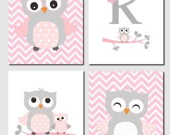 Owl Nursery Art, Pink Gray Owls, Initial, Monogram, Baby Girl, Kids Art, Chevron, Girls Room, Owl Nursery Decor, Set of 4, Prints or Canvas