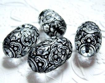 Crystal and jet large 28mm carved barrel  shape beads, lot of (3) - BU168