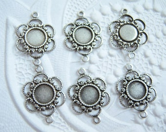 6 - Antiqued silver 5mm setting connectors - BN150