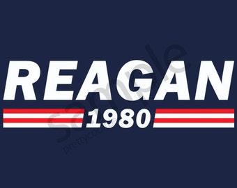 Reagan 1980 T-Shirt Tee - Ronald Reagan - Men's, Women's Ladies, Short, Long Sleeve, Youth Kids (Flag Stripes)