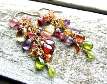 Penny Lane Wire Wrapped Gemstone Chandelier Earrings