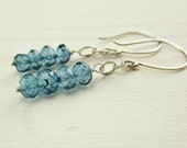 London Blue Topaz Earrings, Sterling Silver, Topaz Dangle Earrings, December Birthstone, Everyday Blue Gemstone Stack Earrings