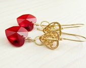 Siam Red Crystal Heart Earrings, Swarovski Heart, Bali Gold Vermeil Heart Earrings, Gold Heart Dangle Valentines Jewelry Gift for Her