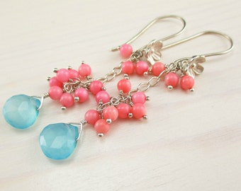 Aqua Chalcedony Pink Coral Earrings, Sterling Silver, Salmon Pink Coral, Aqua Blue Gemstone, Long Flower Earrings Aqua Dangle Pink Blue
