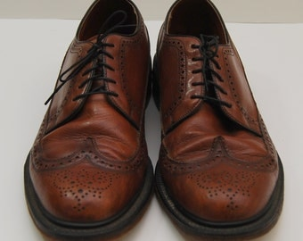 mens 1970s brown leather wingtop oxford shoes