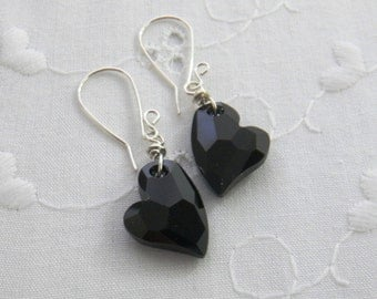 Black Heart Earrings Swarovski crystal earrings Heart earrings Gift for Her Handmade Fashion Jewelry
