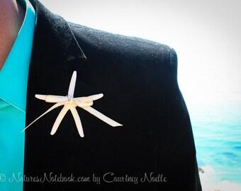 Unique Beach Wedding Starfish Boutonniere, Beach Wedding Lapel Pin, Starfish Lapel Pin, Vintage Wedding Decor, Gold or Silver Edge Ribbon