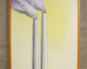 Smokestack , Painting , Smoke Stack , Wil Shepherd Studio , Architecture , Architectural , Art , Fine Art , Original , Landscape ,Industrial