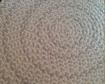 "48"" organic cotton rug with light gray and white with apple green for Julia M"