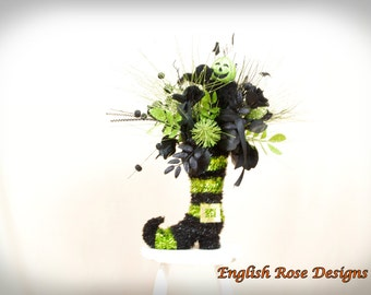 Witch Boot, Witch Centerpiece, Black and Green Centerpiece, Halloween Decor, Wicked Witch, Halloween Arrangement, Witch Boot Centerpiece