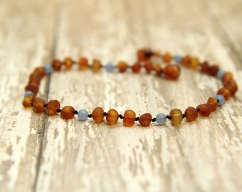 RAW Baltic Amber & Blue Jade Teething Necklace, baby, kids, adults, gemstone jewelry, maximum pain relief, beaded necklace, natural amber