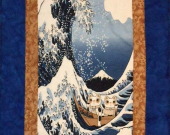 Quilted Wall Hanging Tenugui Japanese Fabric with Cats, Tsunami and Mount Fuji  Art Panel in Blue, White and Tan