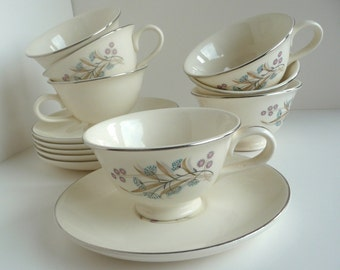 Vintage Taylor Smith Versatile Aqua and Pink Floral Mid Century China 6 Cups and Saucers Plus