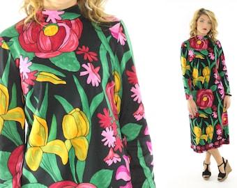Vintage 70s Saul Villa Tea Length Dress Abstract Floral Dress Long Sleeve Dress 1970s Galerie Hippie Dress Large L Maxi Tunic Dress