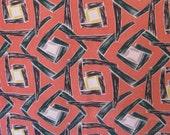 "Vintage Mid-Century 50s Barkcloth Fabric, Interlocking Geometrics on Salmon Pink, 43"" x 1 2/3 YDs"