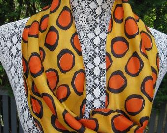 Vintage 60s  Mod Orange, Black & Yellow Infinity Scarf Top